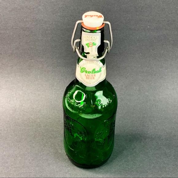 Vintage Grolsch Embossed Green Glass Bottle